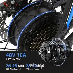 26'' 500W 48V Electric Mountain Bike Bicycle Shimano 21 Speed E-Bike Black-Blue