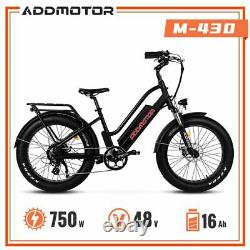 28MPH 750W Step-Thru Electric Bike Addmotor M-430 Commuter Snow Mountain Ebike