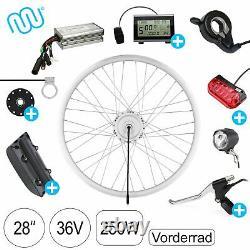 E-Bike Umbausatz 36V 250W 28 Vorderrad Nabenmotor Pedelec Umrüstungskit SILBER
