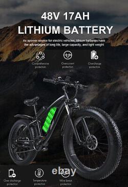 Electric Mountain Bike 1000W 48V Motor 4.0 Fat Tire Ebike kit MTB 17AH Battry