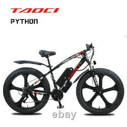 FAT TYRE ELECTRIC BIKE 26 1000W 48V 13Ah TAOCI BLACK Ebike 21 SPEED 50KM Range
