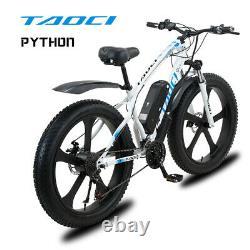 FAT TYRE ELECTRIC BIKE 26 1000W 48V 13Ah TAOCI WHITE Ebike 21 SPEED 50 KM Range