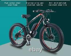 FAT TYRE ELECTRIC BIKE 26 350W 36V 10Ah TAOCI Black Ebike 21 SPEED 50 KM Range