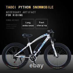FAT TYRE ELECTRIC BIKE 26 350W 36V 10Ah TAOCI White Ebike 21 SPEED 50 KM Range