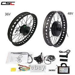 Front Rear Wheel Electric Bicycle 36V 48V eBike Motor Conversion Kit Fat Tire