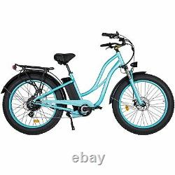 Refurbished 750W Electric Bicycle MaxFoot MF-17P 26Step-thru Cruiser EBike Cyan