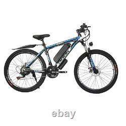 26'' 500w 48v Vélo De Montagne Électrique Shimano 21 Speed E-bike Noir-bleu
