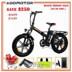 750w Electric Folding Bike Addmotor M-150 R7 48v 20 Fat Tire Ebike All Terrain