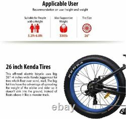 Burch 26 500w 48v Fat Tire Mountain Beach Vélo Électrique E-bike Léger