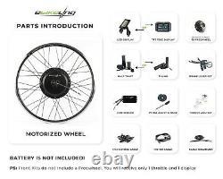 Ebikeling Étanche 36v 750w 26 Kit De Conversion De Vélo Ebike Avant Arrière