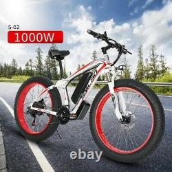 Electric Bike Fat Tyre 26 1000w 48v 13ah Haute Puissance Mountain Ebike 21 Speed