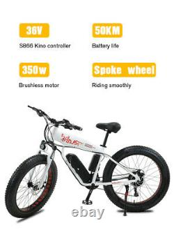 Electric Bike Fat Tyre 26 350w 48v 13ah Sharp White Ebike 27 Speed 50 Km Gamme
