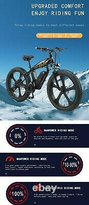 Electric Bike Fat Tyre 26 350w 48v 13ah Sharps Black Ebike 27 Speed 50 Km Gamme
