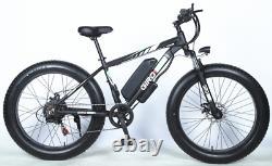 Fat Tyre Electric Bike 26 1000w 48v 10ah Vtt 7 Speed Black & Blanc