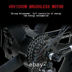 Fat Tyre Electric Bike 26 1000w 48v 13ah Taoci Black Ebike 21 Speed 50km Gamme
