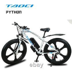 Fat Tyre Electric Bike 26 1000w 48v 13ah Taoci White Ebike 21 Speed 50 Km Gamme