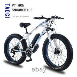 Fat Tyre Electric Bike 26 350w 36v 10ah Taoci Black Ebike 21 Speed 50 Km Gamme