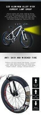Fat Tyre Electric Bike 26 350w 36v 10ah Taoci White Ebike 21 Speed 50 Km Gamme